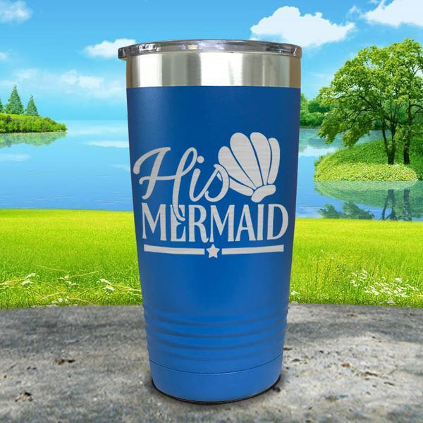 His Mermaid Engraved Tumbler Tumbler ZLAZER 20oz Tumbler Blue