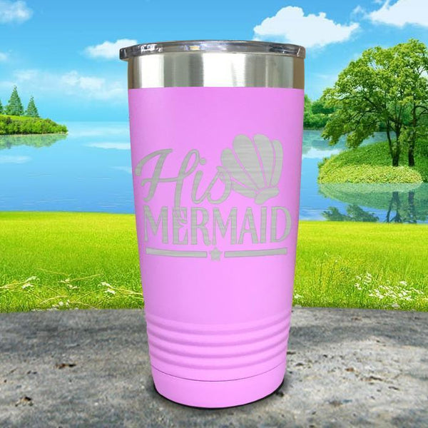 His Mermaid Engraved Tumbler Tumbler ZLAZER 20oz Tumbler Lavender