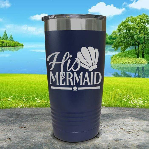His Mermaid Engraved Tumbler Tumbler ZLAZER 20oz Tumbler Navy