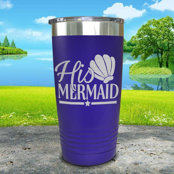 His Mermaid Engraved Tumbler Tumbler ZLAZER 20oz Tumbler Royal Purple