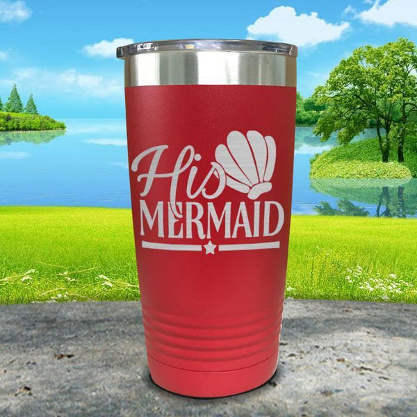 His Mermaid Engraved Tumbler Tumbler ZLAZER 20oz Tumbler Red