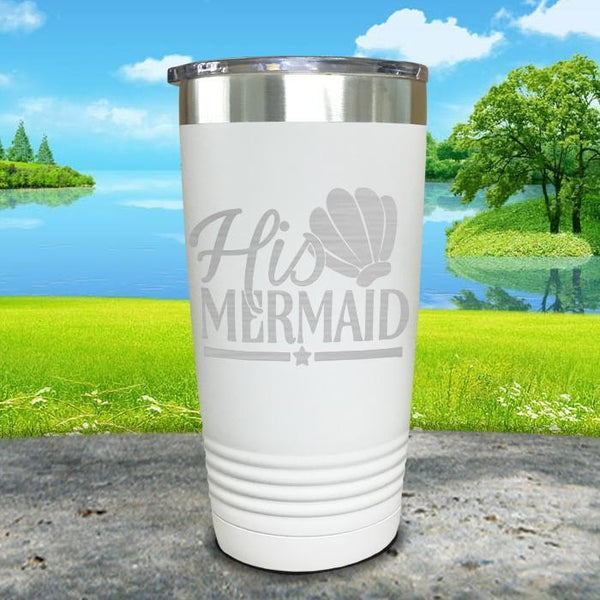 His Mermaid Engraved Tumbler Tumbler ZLAZER 20oz Tumbler White