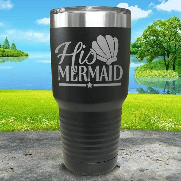 His Mermaid Engraved Tumbler Tumbler ZLAZER 30oz Tumbler Black
