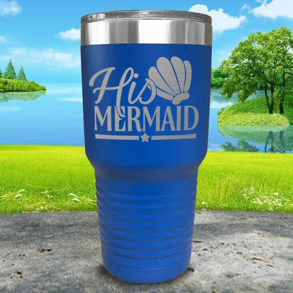 His Mermaid Engraved Tumbler Tumbler ZLAZER 30oz Tumbler Blue