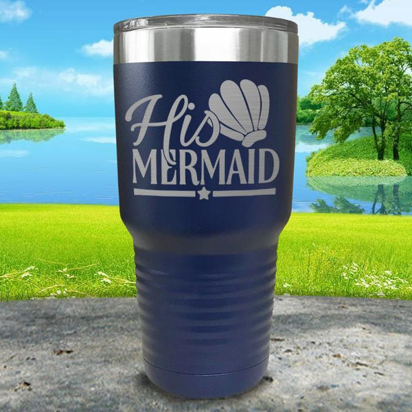 His Mermaid Engraved Tumbler Tumbler ZLAZER 30oz Tumbler Navy
