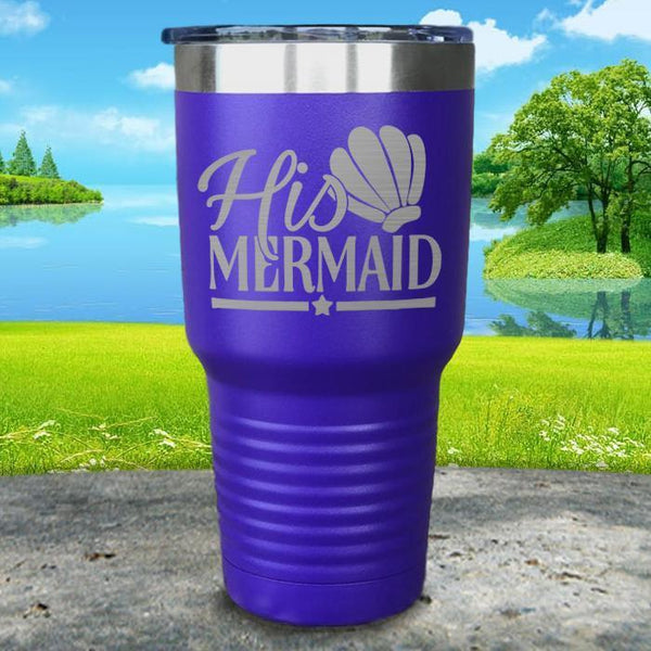 His Mermaid Engraved Tumbler Tumbler ZLAZER 30oz Tumbler Royal Purple