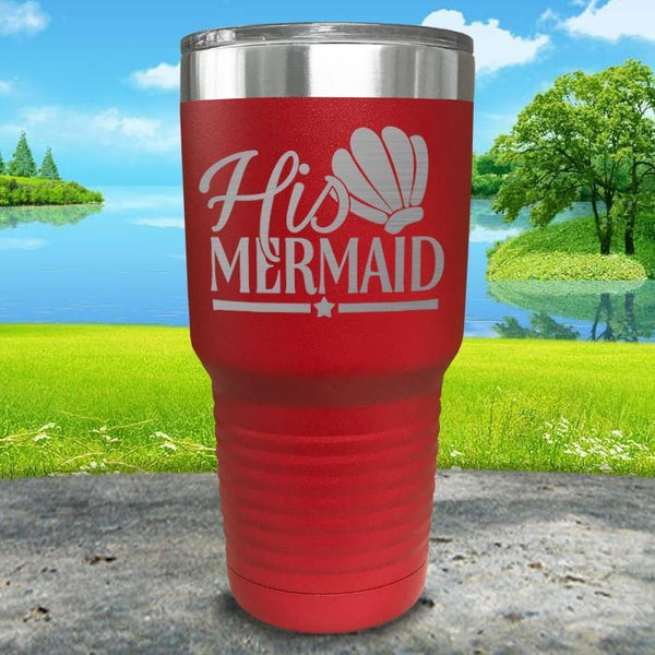 His Mermaid Engraved Tumbler Tumbler ZLAZER 30oz Tumbler Red