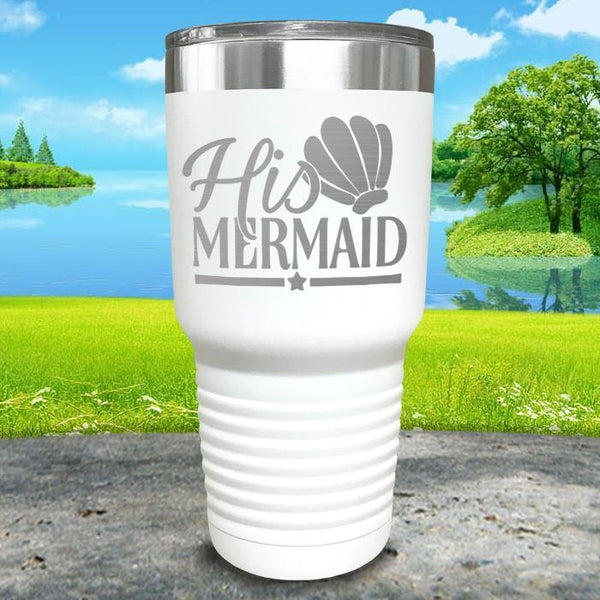 His Mermaid Engraved Tumbler Tumbler ZLAZER 30oz Tumbler White