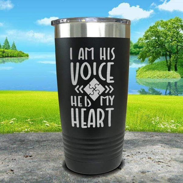 I Am His Voice He Is My Heart Engraved Tumbler Tumbler ZLAZER 20oz Tumbler Black