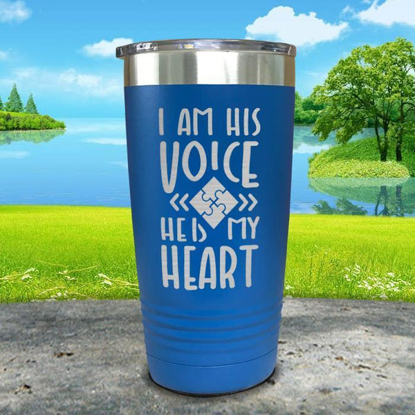 I Am His Voice He Is My Heart Engraved Tumbler Tumbler ZLAZER 20oz Tumbler Blue