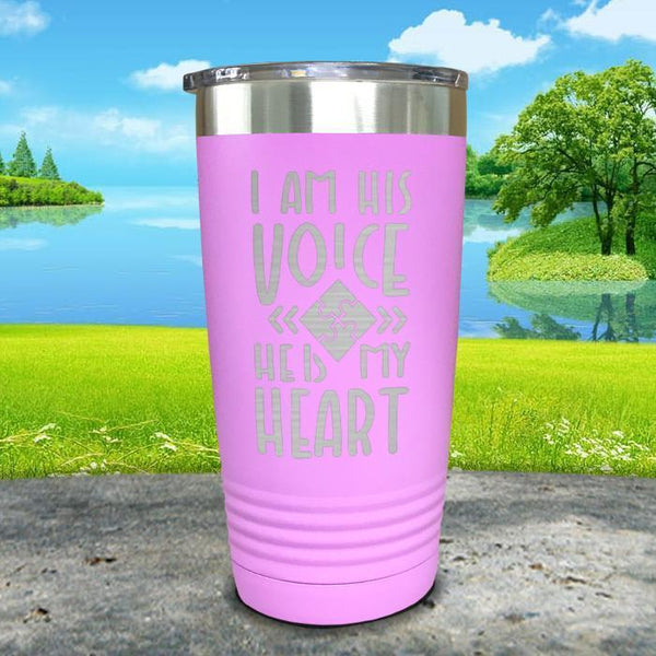 I Am His Voice He Is My Heart Engraved Tumbler Tumbler ZLAZER 20oz Tumbler Lavender