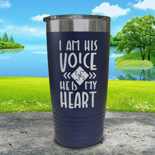 I Am His Voice He Is My Heart Engraved Tumbler Tumbler ZLAZER 20oz Tumbler Navy