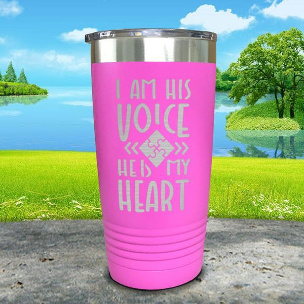 I Am His Voice He Is My Heart Engraved Tumbler Tumbler ZLAZER 20oz Tumbler Pink