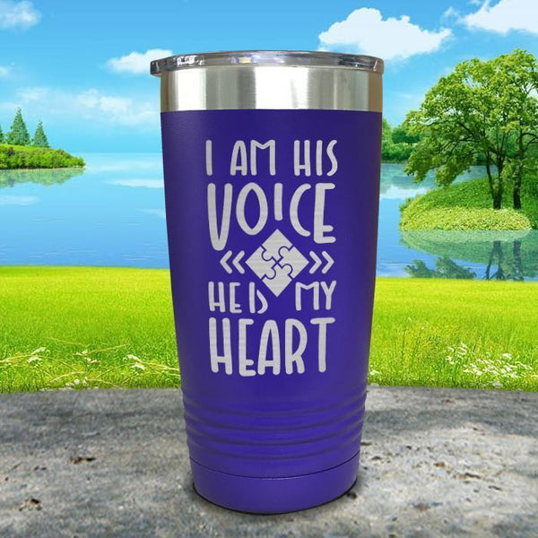 I Am His Voice He Is My Heart Engraved Tumbler Tumbler ZLAZER 20oz Tumbler Royal Purple