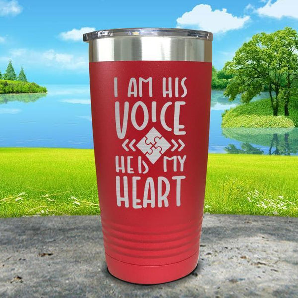 I Am His Voice He Is My Heart Engraved Tumbler Tumbler ZLAZER 20oz Tumbler Red