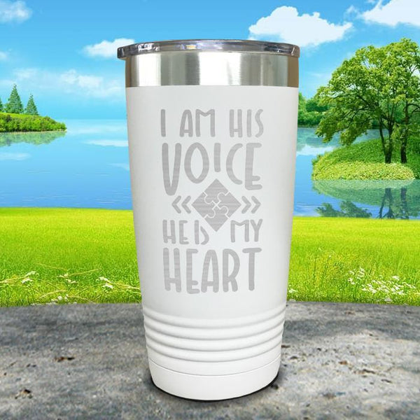 I Am His Voice He Is My Heart Engraved Tumbler Tumbler ZLAZER 20oz Tumbler White