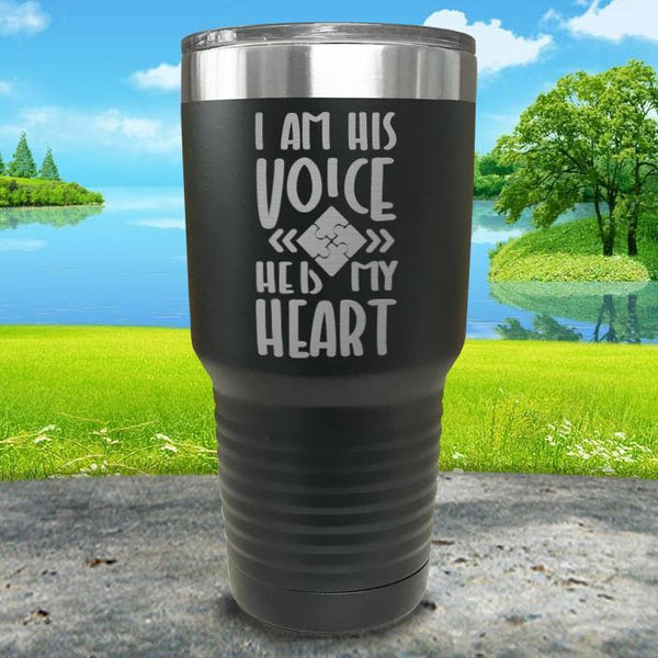 I Am His Voice He Is My Heart Engraved Tumbler Tumbler ZLAZER 30oz Tumbler Black