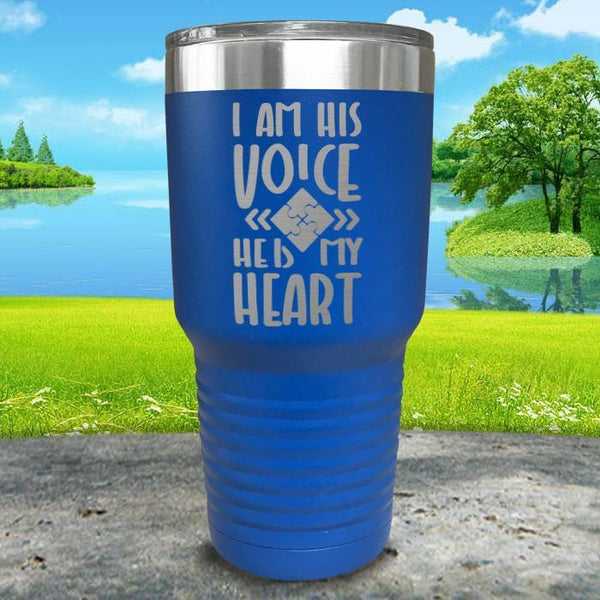I Am His Voice He Is My Heart Engraved Tumbler Tumbler ZLAZER 30oz Tumbler Blue