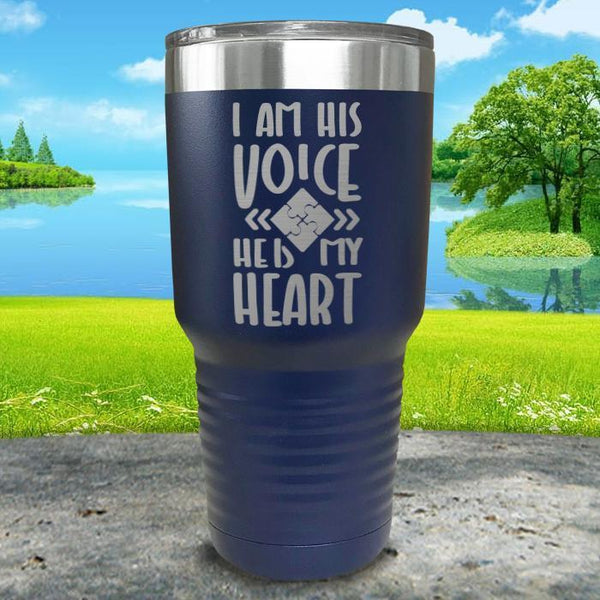 I Am His Voice He Is My Heart Engraved Tumbler Tumbler ZLAZER 30oz Tumbler Navy