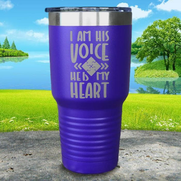 I Am His Voice He Is My Heart Engraved Tumbler Tumbler ZLAZER 30oz Tumbler Royal Purple