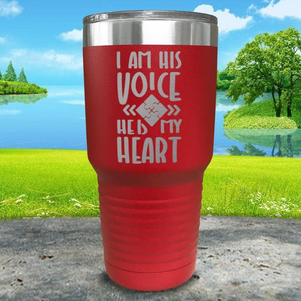 I Am His Voice He Is My Heart Engraved Tumbler Tumbler ZLAZER 30oz Tumbler Red