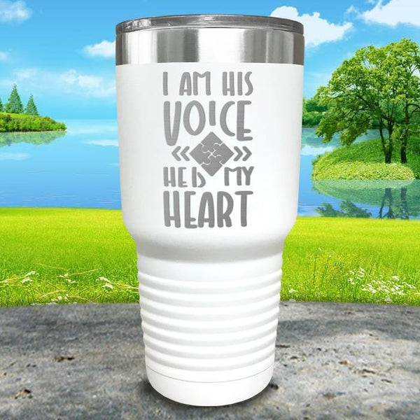 I Am His Voice He Is My Heart Engraved Tumbler Tumbler ZLAZER 30oz Tumbler White