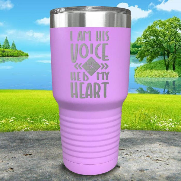 I Am His Voice He Is My Heart Engraved Tumbler Tumbler ZLAZER 30oz Tumbler Lavender