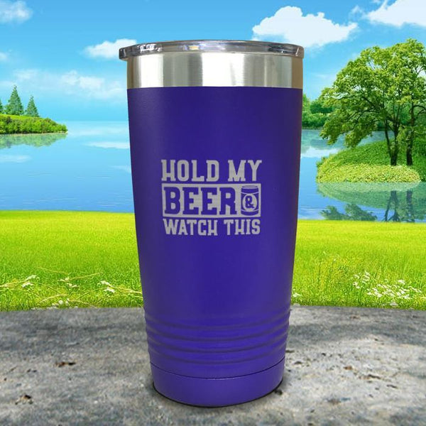 Hold My Beer Watch This Engraved Tumbler Tumbler Nocturnal Coatings 20oz Tumbler Royal Purple