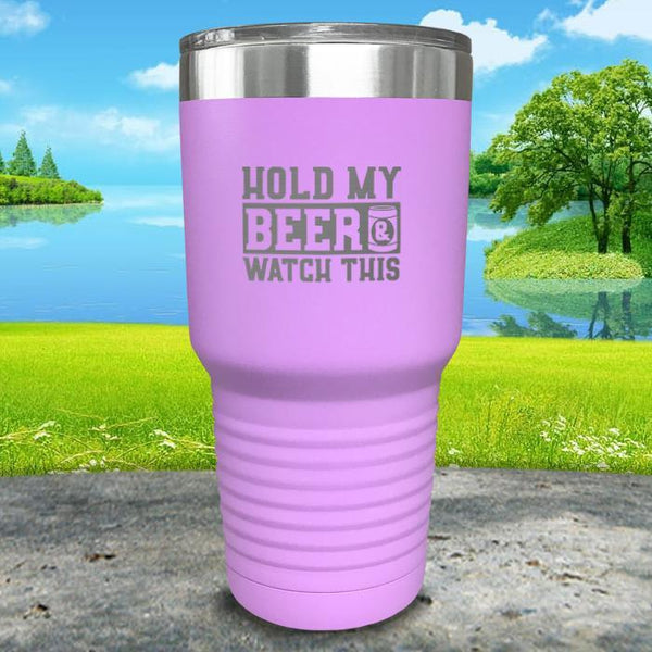 Hold My Beer Watch This Engraved Tumbler Tumbler Nocturnal Coatings 30oz Tumbler Lavender