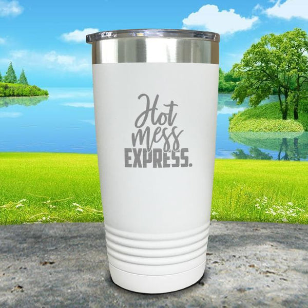 Hot Mess Express Engraved Tumbler Tumbler ZLAZER 20oz Tumbler White