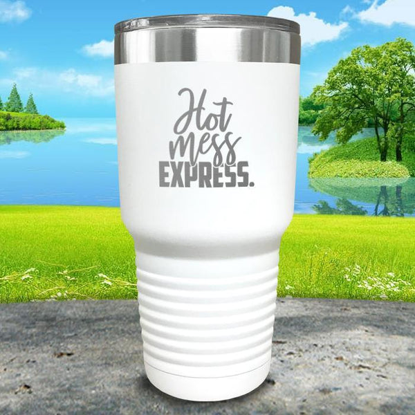 Hot Mess Express Engraved Tumbler Tumbler ZLAZER 30oz Tumbler White