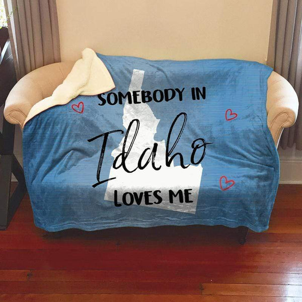 Somebody Loves Me (CUSTOM) Sherpa Blanket Blankets CustomCat Idaho
