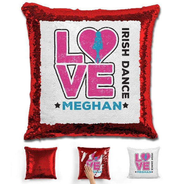 Personalized LOVE Irish Dance Magic Sequin Pillow Pillow GLAM Red Pink