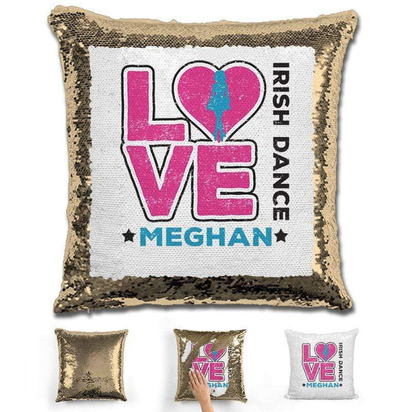 Personalized LOVE Irish Dance Magic Sequin Pillow Pillow GLAM Gold Pink