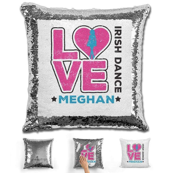Personalized LOVE Irish Dance Magic Sequin Pillow Pillow GLAM Silver Pink