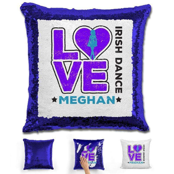 Personalized LOVE Irish Dance Magic Sequin Pillow Pillow GLAM Blue Purple