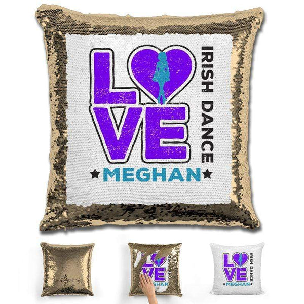 Personalized LOVE Irish Dance Magic Sequin Pillow Pillow GLAM Gold Purple
