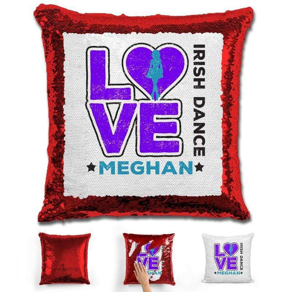 Personalized LOVE Irish Dance Magic Sequin Pillow Pillow GLAM Red Purple