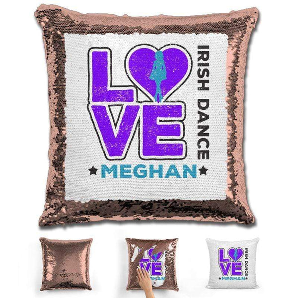 Personalized LOVE Irish Dance Magic Sequin Pillow Pillow GLAM Rose Gold Purple