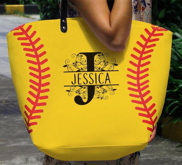 CUSTOM Monogram Softball & Baseball Premium Tote Bags Edge Softball