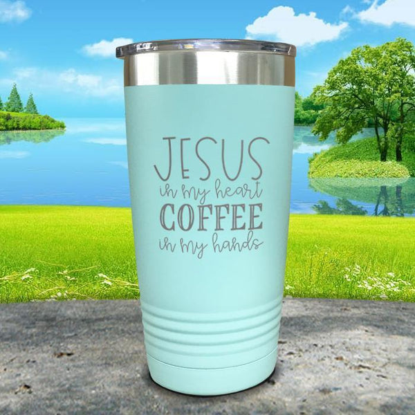 Jesus In My Heart Coffee In My Hand Engraved Tumbler Tumbler ZLAZER 20oz Tumbler Mint