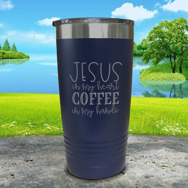 Jesus In My Heart Coffee In My Hand Engraved Tumbler Tumbler ZLAZER 20oz Tumbler Navy