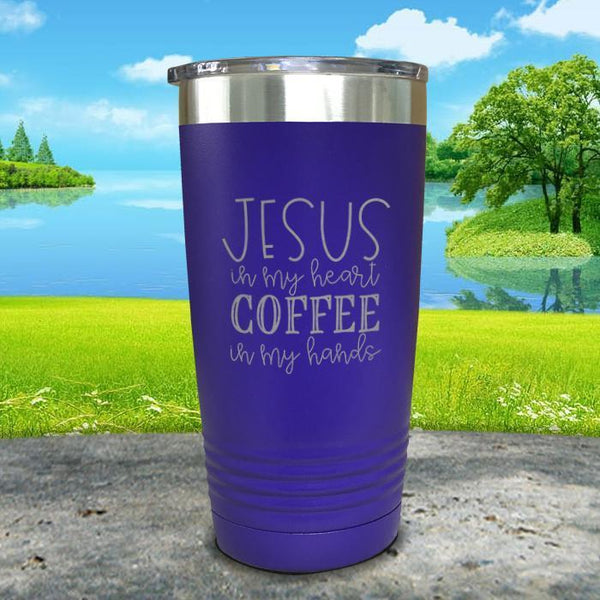 Jesus In My Heart Coffee In My Hand Engraved Tumbler Tumbler ZLAZER 20oz Tumbler Royal Purple
