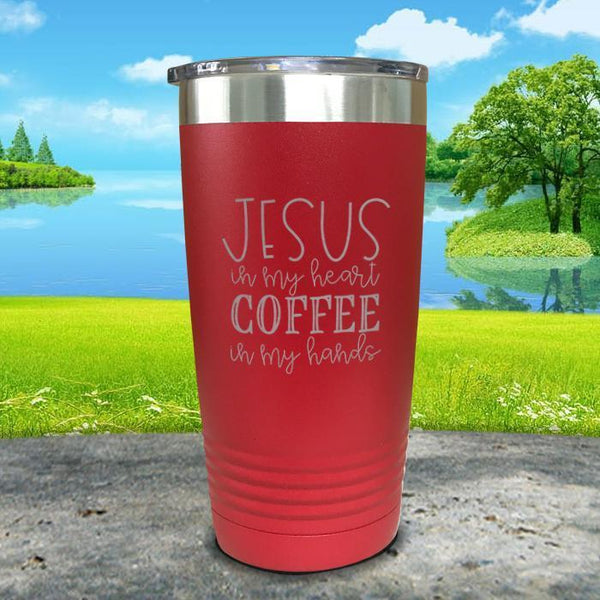 Jesus In My Heart Coffee In My Hand Engraved Tumbler Tumbler ZLAZER 20oz Tumbler Red