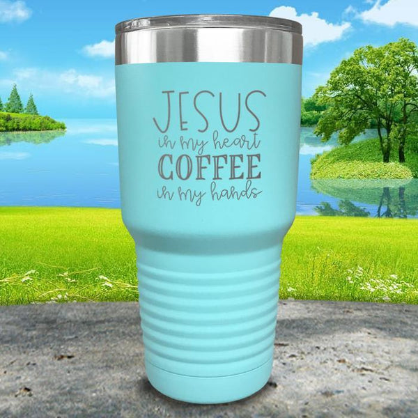 Jesus In My Heart Coffee In My Hand Engraved Tumbler Tumbler ZLAZER 30oz Tumbler Mint