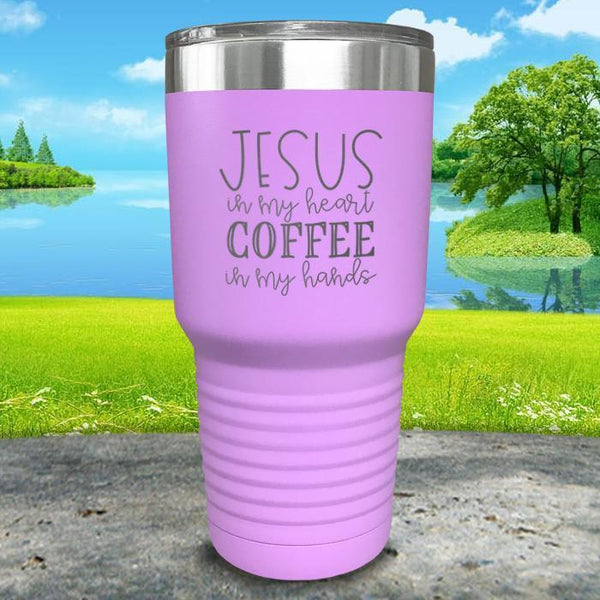 Jesus In My Heart Coffee In My Hand Engraved Tumbler Tumbler ZLAZER 30oz Tumbler Lavender
