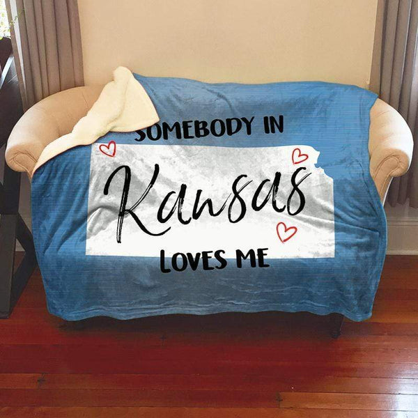 Somebody Loves Me (CUSTOM) Sherpa Blanket Blankets CustomCat Kansas