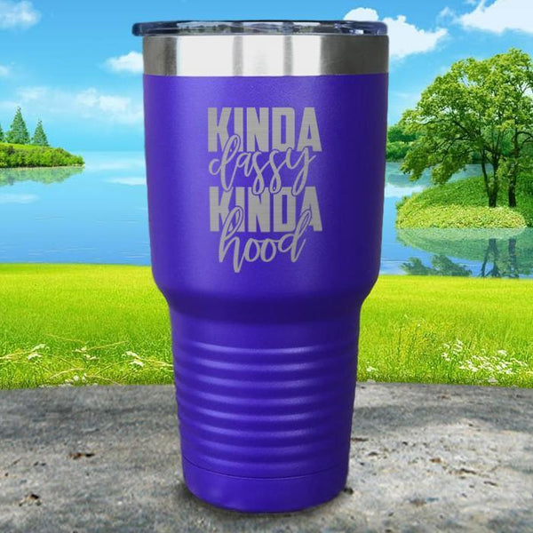 Kinda Classy Kinda Hood Engraved Tumbler Tumbler ZLAZER 30oz Tumbler Royal Purple