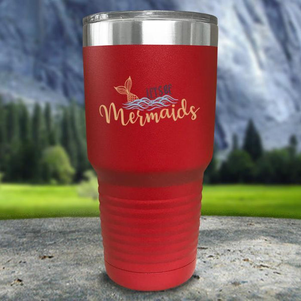 Let's Be Mermaids Color Printed Tumblers Tumbler Nocturnal Coatings 30oz Tumbler Red