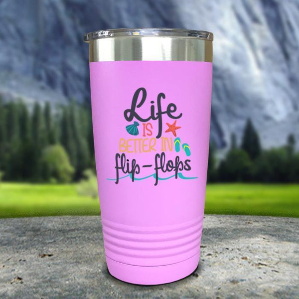 Life Is Better In Flip Flops Color Printed Tumblers Tumbler Nocturnal Coatings 20oz Tumbler Lavender